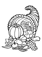 Cornucopia Coloring Pages Horns Of Plenty Autumn
