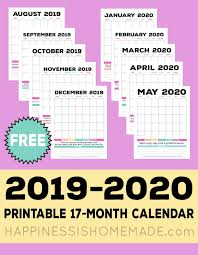 Daily Planners 2015 2020 2019 2020 Free Printable Monthly Calendar Happiness Is