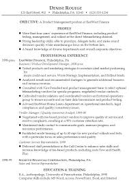 Example Resume Product Management Financial Services