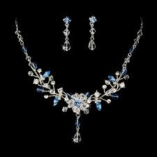 a touch of class creations rosemary swarovski crystal necklace and earrings set blue