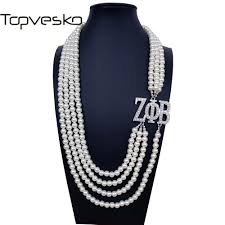 2019 topvekso greece greek sorority zeta phi beta white pearl zpb pendant multilayer statement jewelry long choker from splendone 26 82 dhgate