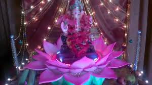 my home ganpati decoration rotating lotus youtube