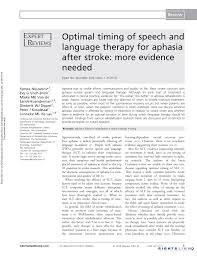 Optimal timing of speech and language therapy for aphasia after ...