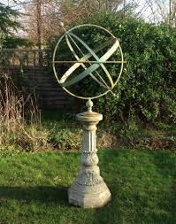 iron armillary sphere and base