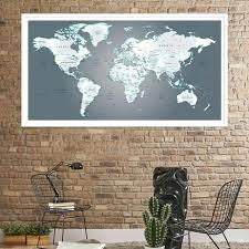 world travel wall map wall art world travel map large push pin world map gray green world travel wall map