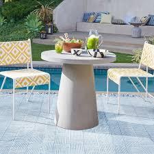 concrete outdoor round pedestal dining