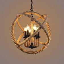 industrial 6 light orb chandelier with hemp rope for front door farmhouse kitchen