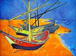 fishing boats on the beach watercolor