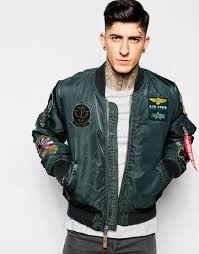 alpha industries er jacket with patches darkpetrol