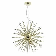 gold 6 light sputnik ceiling pendant