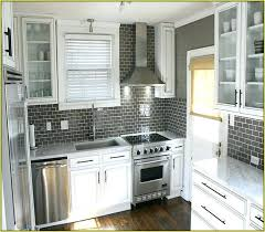 grey subway tile kitchen small kitchen designed with white cabinets