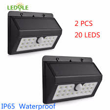 Us 23 98 35 Off Ledgle 2pcs 20leds Ip65 Solar Lamp Waterproof Solar Light Powered Garden Led Solar Light Outdoor Abs Wall Lamp Stairs Lights In
