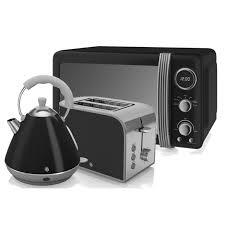 Retro Toasters swan retro microwave pyramid kettle and 2 slice toaster in black 7602 by uwakikaiketsu.us