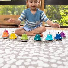 Learn to understand pitch and melodies with our quality hand and desk bells, while still using gross motor skills required to play rhythm instruments. Amazon Com Fat Brain Toys Rainbow Music Desk Bells Music For Ages 3 To 7 Toys Games