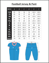 4xl Pants Size Chart Football Jersey Number Size Chart Bedowntowndaytona Com