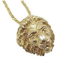 regal 18k gold lion head pendant necklace 14k gold
