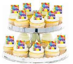 12pk Happy Birthday Elegant Balloons Cupcake Decoration Toppers Picks