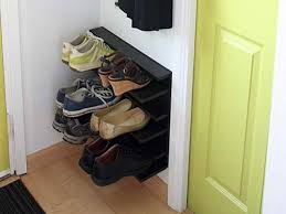 furniture smart and creative small wood diy entryway shoe storage design in the corner for