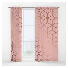 pink and gold geometry 011 window curtains liked on polyvore featuring home home decor