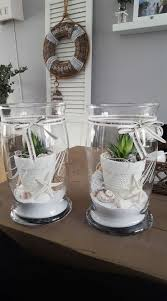 Cactus Planters With Sand And Seashells Obi Deko Ideen Frühjahr