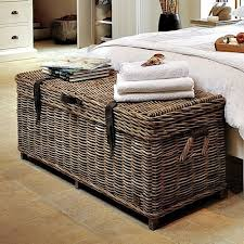 Storage Bedroom Bench Wicker Rattan Box Chest Seat Cushion Trunk  Conservatory