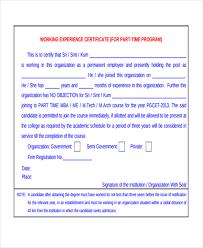 Employee Working Certificate Format experience certificate template experience certificate templates 94
