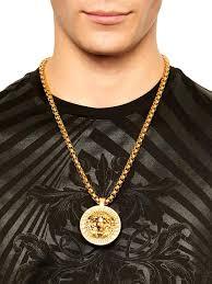 versace medusa necklace in metallic for men lyst