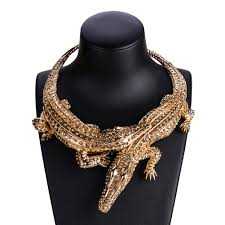 Necklace Design Picture Us 11 0 30 Off New Design Exaggerated Punk Full Rhinestone Crocodile Necklace For Women Fashion Trend Statement Necklace Collar Bijoux In Pendant