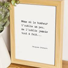 Poster Jacques Prévert Citation Bonheur