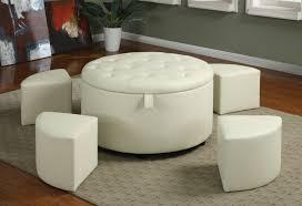 attractive round tufted storage ottoman coffee table round white leather ottoman coffee table cream pattern