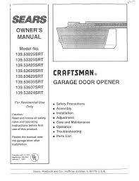 large space craftsman half horsepower garage door opener instructions