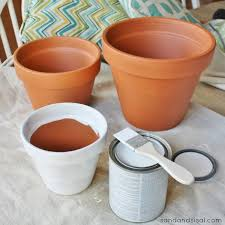 how to paint terracotta pots sand and