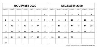 Blank Dec 2020 Calendar Nov Dec 2020 Calendar Monday Start Editable Two Months