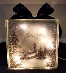 Glass Present Box Lights Mickey Mouse In Santa Sleigh Lighted Glass Block Nightlight