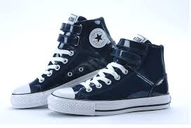 converse all star high tops. converse all star blue shiny leather 2 velcro high top shoes - on sale now tops