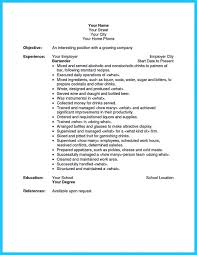 Bartender Job Description Resume Elephantroom Creative