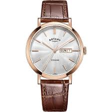 rotary gs05304 02 mens timepieces windsor rose gold plated brown leather strap watch