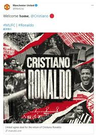 Ronaldo will now pull on the red united shirt once again the club statement read: A1qqj6 N Xde4m