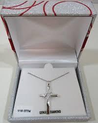 ct tw genuine diamond cross pendant
