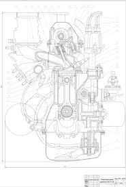 Курсовые и дипломные работы автомобили расчет устройство  Чертеж Поперечный разрез двигателя ВАЗ 2108