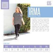 Xl Irma Size Chart Pin By Jennifer Grady On Lularoe Irma Sizing Lularoe Size