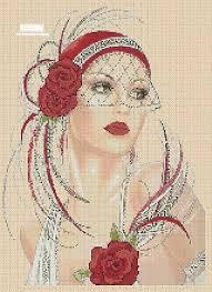 Art Deco Cross Stitch Charts Art Deco Lady Cross Stitch Chart Art Deco Lady 3d Red Roses