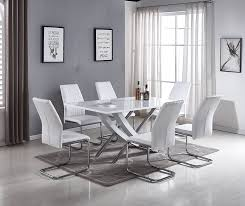 mayfair white dining table chairs set free delivery furniturebox and high gloss modern chrome stylish faux leather resized large stainless steel lorenzo