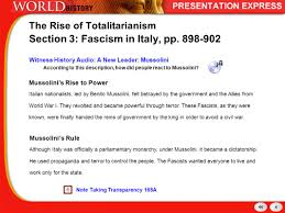 history of the modern world the rise of totalitarianism russia 9 mussolini s