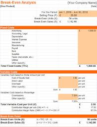 Pricing Model Excel Template Free Break Even Analysis Templates Invoiceberry