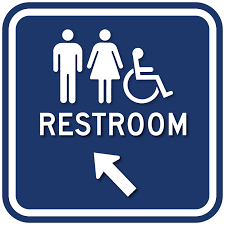 Handicap Bathroom Signs Mesmerizing Restroom Direction Arrow Sign With Gender And Wheelchair Symbols