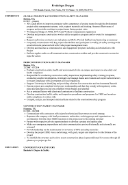 Download Construction Safety Manager Resume Sample as Image file