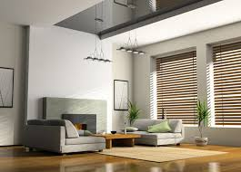 blinds for living room windows. living room in minimalist style: grey sofa, wooden coffee table, window blinds for windows