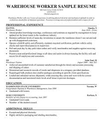 Resume Examples For Warehouse Worker Awesome Warehouse Worker Resume