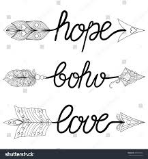 Coloring Pages Arrows Boho Love Hope Hand Drawn Stock Vector Royalty